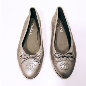 Chanel Gray Ballerina Ballet Quilted Cap Toe Flats